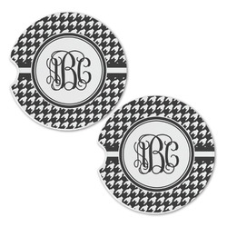 Houndstooth Sandstone Car Coasters - Set of 2 (Personalized)