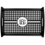 Houndstooth Black Wooden Tray (Personalized)
