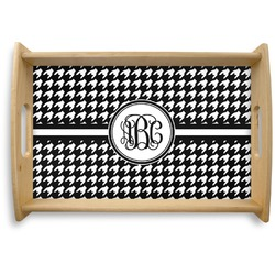 Houndstooth Natural Wooden Tray (Personalized)