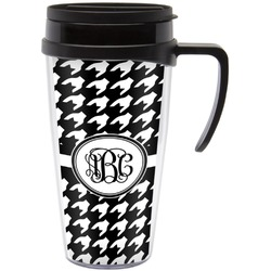 Houndstooth Travel Mug with Handle (Personalized)