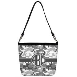 Camo Bucket Bag w/ Genuine Leather Trim (Personalized)