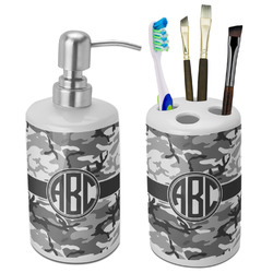 Camo Ceramic Bathroom Accessories Set (Personalized)