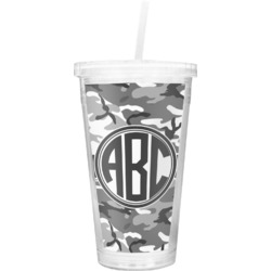 Camo Double Wall Tumbler with Straw (Personalized)