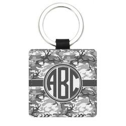 Camo Genuine Leather Rectangular Keychain (Personalized)
