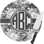 Camo Round Glass Cutting Board (Personalized)