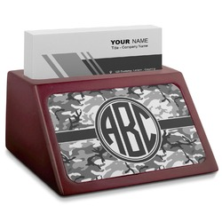 Camo Red Mahogany Business Card Holder (Personalized)