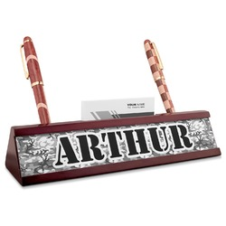 Camo Red Mahogany Nameplate with Business Card Holder (Personalized)