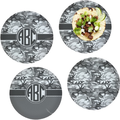 "Camo Set of 4 Glass Lunch / Dinner Plate 10"" (Personalized)"