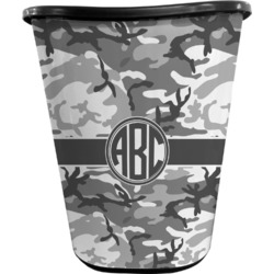 Camo Waste Basket - Double Sided (Black) (Personalized)