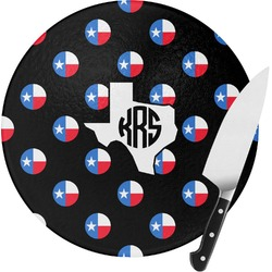 Texas Polka Dots Round Glass Cutting Board - Small (Personalized)