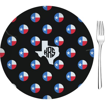 """Texas Polka Dots 8"""" Glass Appetizer / Dessert Plates - Single or Set (Personalized)"""