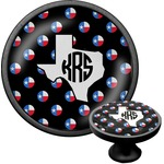 Texas Polka Dots Cabinet Knob (Black) (Personalized)