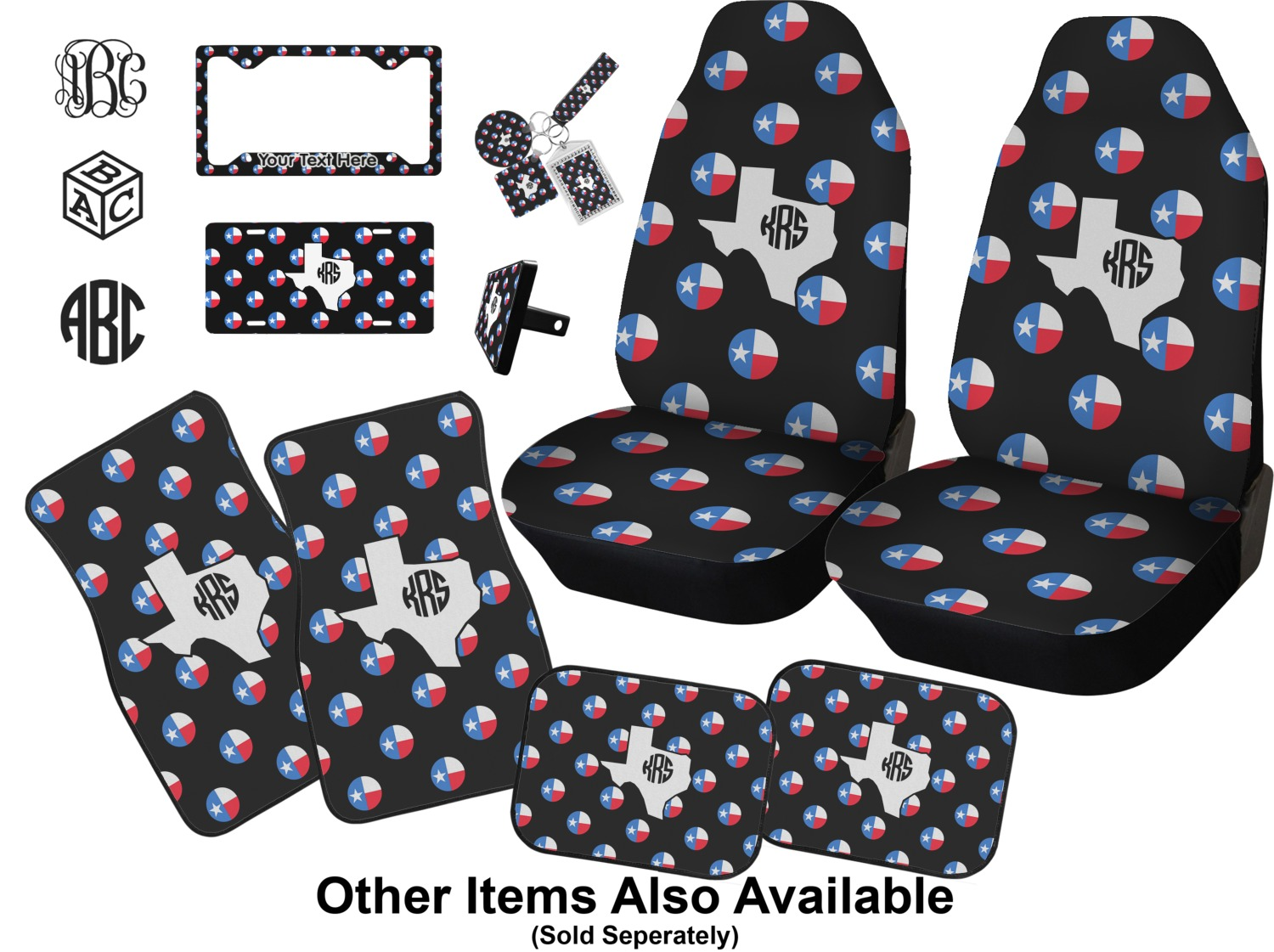 Texas Polka Dots Car Accessories Set Personalized