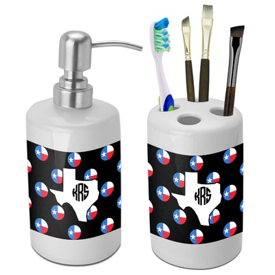 Texas Polka Dots Bathroom Accessories Set Ceramic