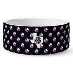 Texas Polka Dots Ceramic Dog Bowl (Personalized)