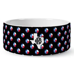 Texas Polka Dots Ceramic Pet Bowl (Personalized)