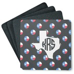 Texas Polka Dots 4 Square Coasters - Rubber Backed (Personalized)
