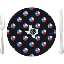 "Texas Polka Dots Glass Lunch / Dinner Plates 10"" - Single or Set (Personalized)"