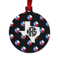 Texas Polka Dots Metal Ball Ornament - Double Sided w/ Monogram