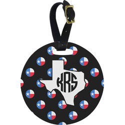 Texas Polka Dots Round Luggage Tag (Personalized)