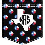 Texas Polka Dots Iron On Faux Pocket (Personalized)