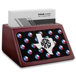 Texas Polka Dots Red Mahogany Business Card Holder (Personalized)