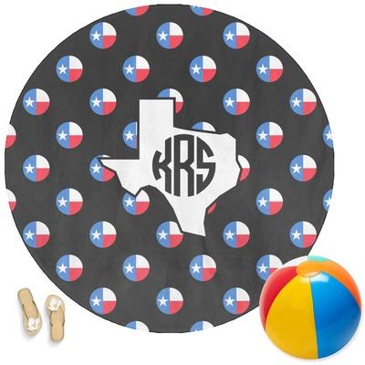 Texas Polka Dots Round Beach Towel (Personalized)