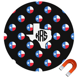 Texas Polka Dots Round Car Magnet (Personalized)