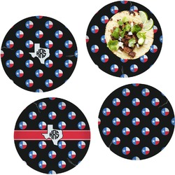 Texas Polka Dots Set of 4 Lunch / Dinner Plates (Glass) (Personalized)