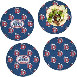 "Dawson Eagles Football Set of 4 Glass Lunch / Dinner Plate 10"" (Personalized)"