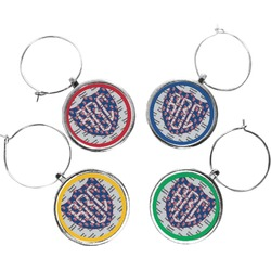 Dawson Eagles Football Wine Charms (Set of 4) (Personalized)
