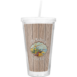 Lake House Double Wall Tumbler with Straw (Personalized)