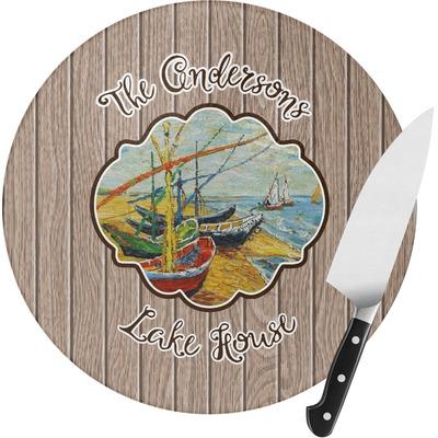 Lake House Round Glass Cutting Board (Personalized)