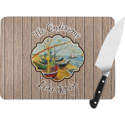 Lake House Rectangular Glass Cutting Board (Personalized)