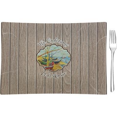 Lake House Rectangular Glass Appetizer / Dessert Plate - Single or Set (Personalized)