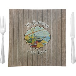 "Lake House 9.5"" Glass Square Lunch / Dinner Plate- Single or Set of 4 (Personalized)"