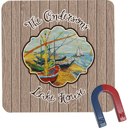 Lake House Square Fridge Magnet (Personalized)
