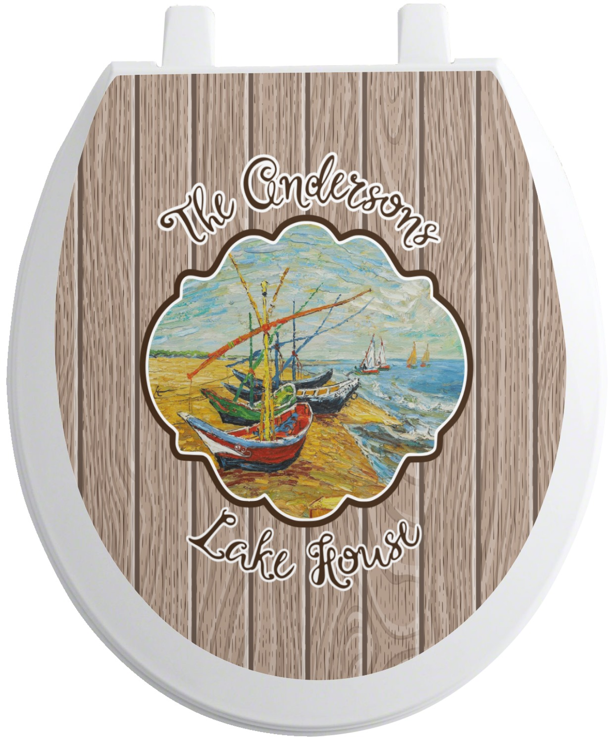 lake house toilet seat decal round personalized. Black Bedroom Furniture Sets. Home Design Ideas
