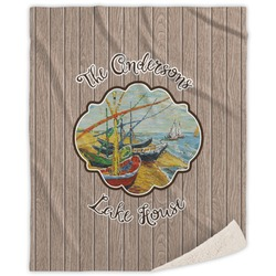 Lake House Sherpa Throw Blanket (Personalized)