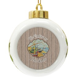 Lake House Ceramic Ball Ornament (Personalized)