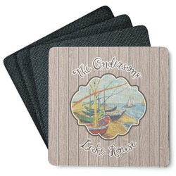 Lake House Square Rubber Backed Coasters - Set of 4 (Personalized)