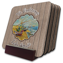 Lake House Coaster Set w/ Stand (Personalized)