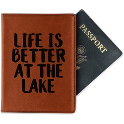 Lake House Leatherette Passport Holder - Single Sided (Personalized)