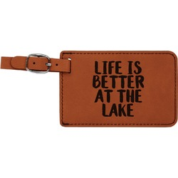 Lake House Leatherette Luggage Tag (Personalized)