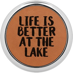 Lake House Leatherette Round Coaster w/ Silver Edge - Single or Set (Personalized)