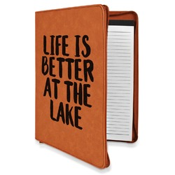 Lake House Leatherette Zipper Portfolio with Notepad (Personalized)