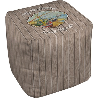 Lake House Cube Pouf Ottoman (Personalized)