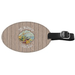 Lake House Genuine Leather Oval Luggage Tag (Personalized)