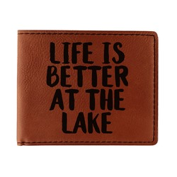 Lake House Leatherette Bifold Wallet - Double Sided (Personalized)