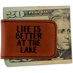 Lake House Leatherette Magnetic Money Clip (Personalized)